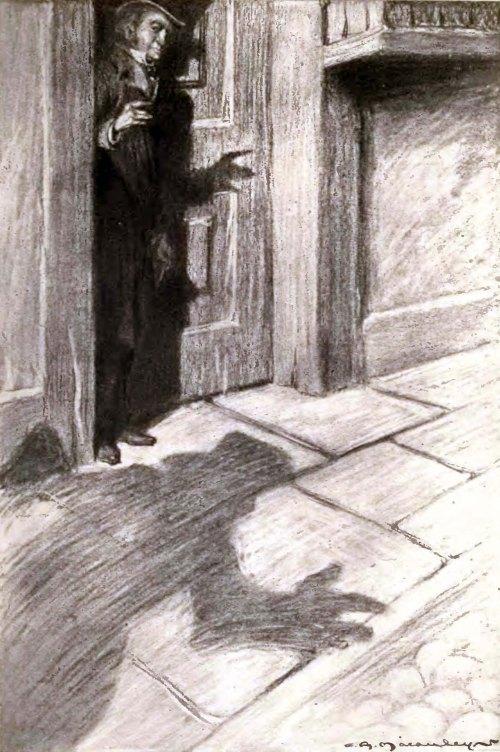 Un hombre escondido, amenaza en la noche.